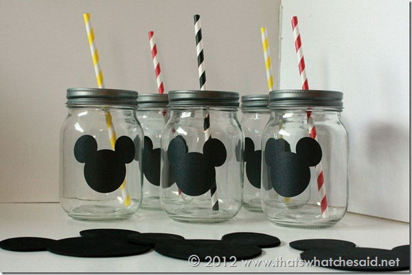 Mickey Mouse Mason Jars with Chalkboard Labels.