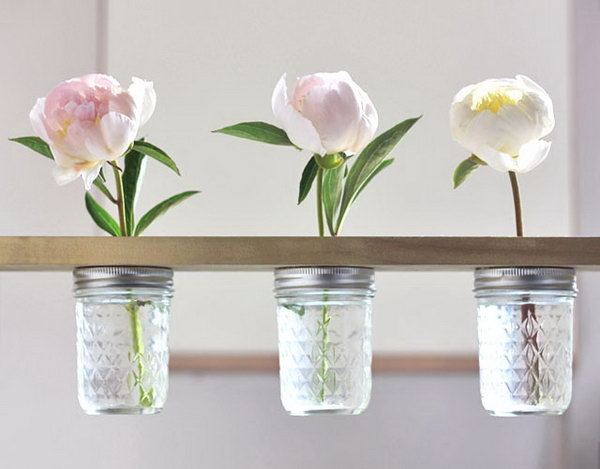 Mason Jar Flower Shelf.