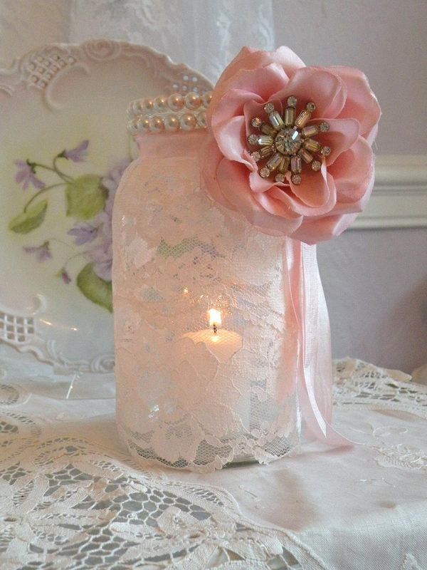 Pink Mason Jar Candle Holder.