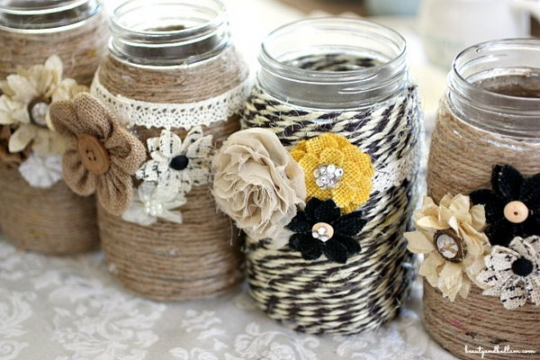 DIY Embellished Glass Mason Jars.