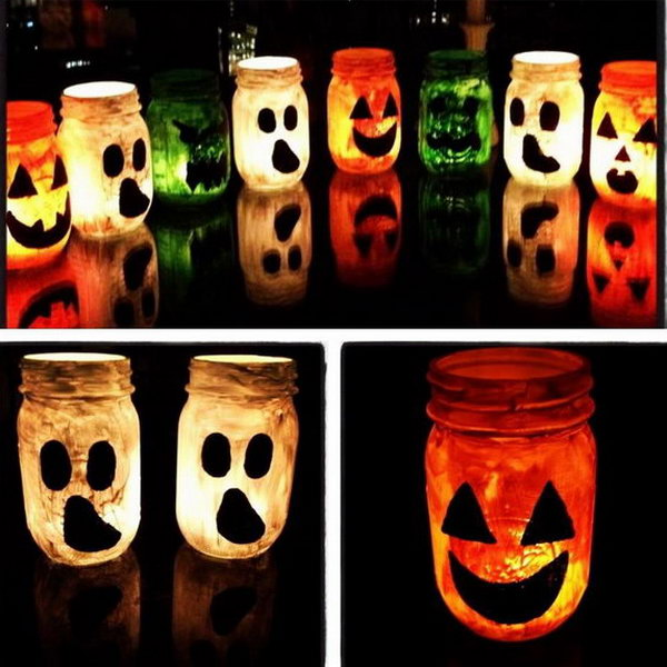 DIY Halloween Mason Jar Luminaries.