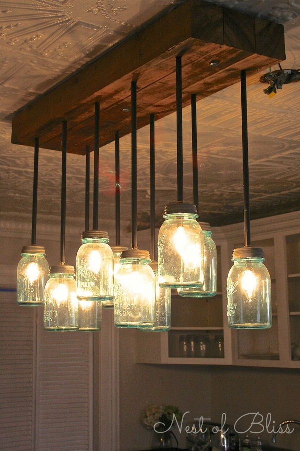 DIY Mason Jar Chandelier.