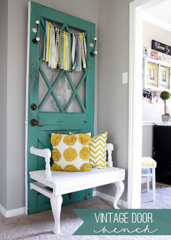 Vintage Door Bench. I absolutely love it, it looks awesome design.