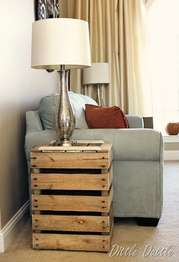 Rustic Nightstand Made from Wooden Pallets.
