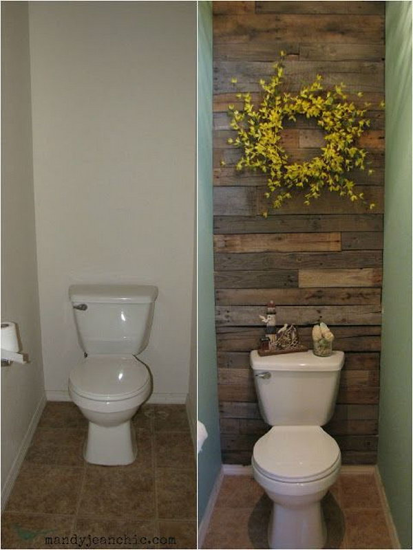 Pallet Wood Bathroom Wall Reveal.