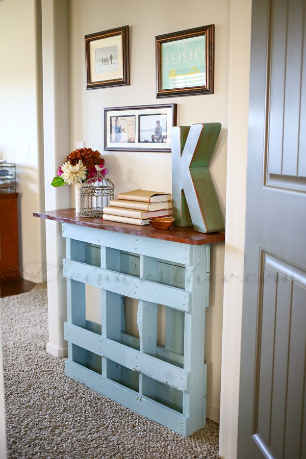 Beautiful Pallet Console Table for Not So Wide Entry .