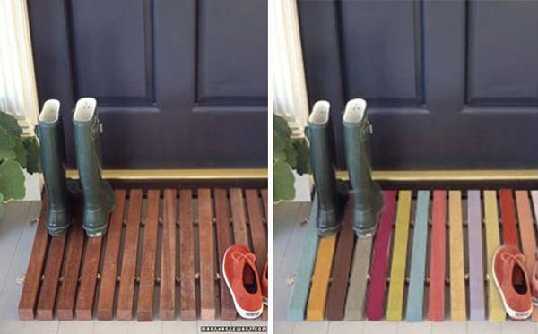 DIY Door Wooden Pallet Welcome Mat.