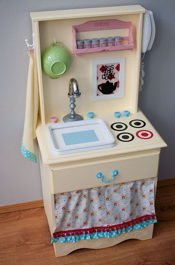 Play Kitchen Made Out of an Old Nightstand. See the steps