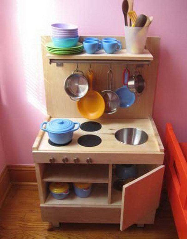 DIY Play Kitchen from Ikea Components. See more details