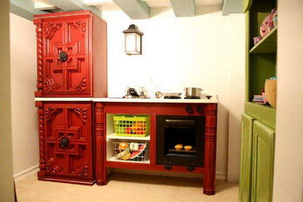Fancy Cottage Play Kitchen. Get the tutorial