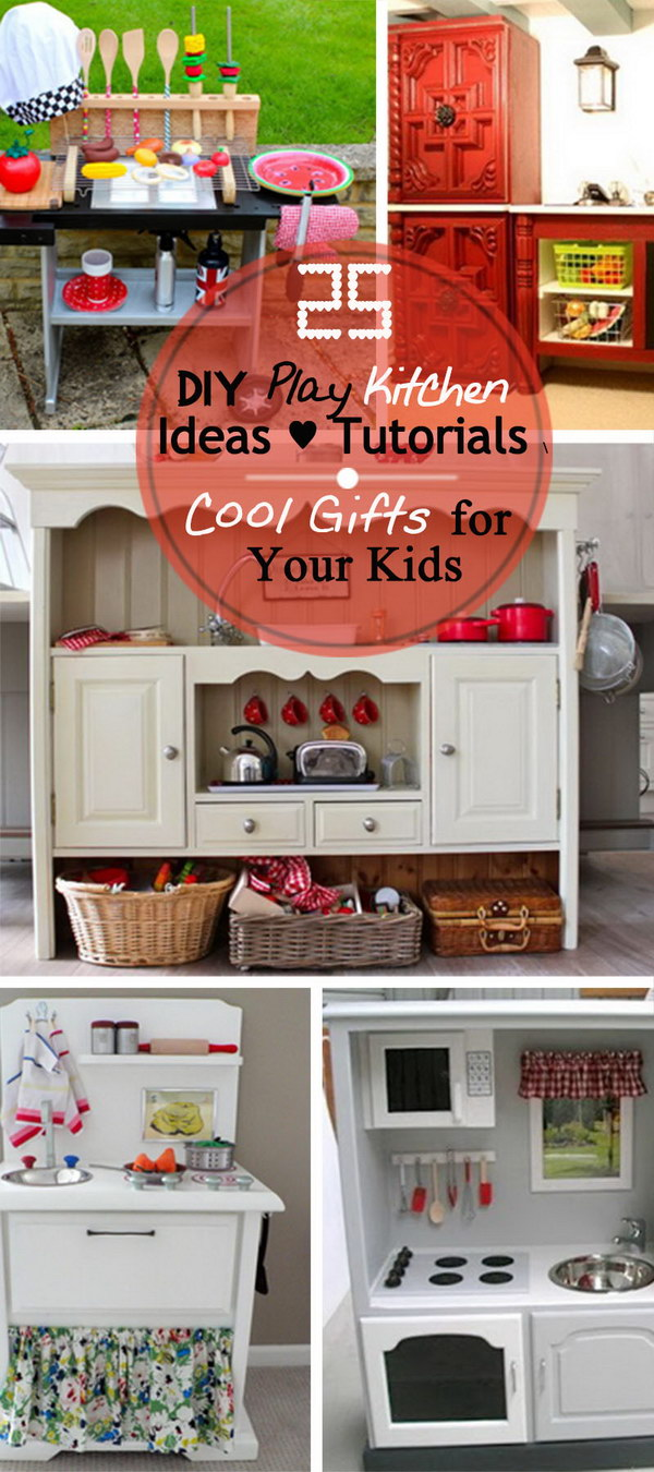 25 diy play kitchen ideas tutorials cool gifts for for Play kitchen designs