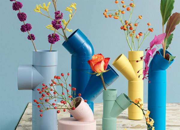 Colorful Vases Made from PVC Pipes.