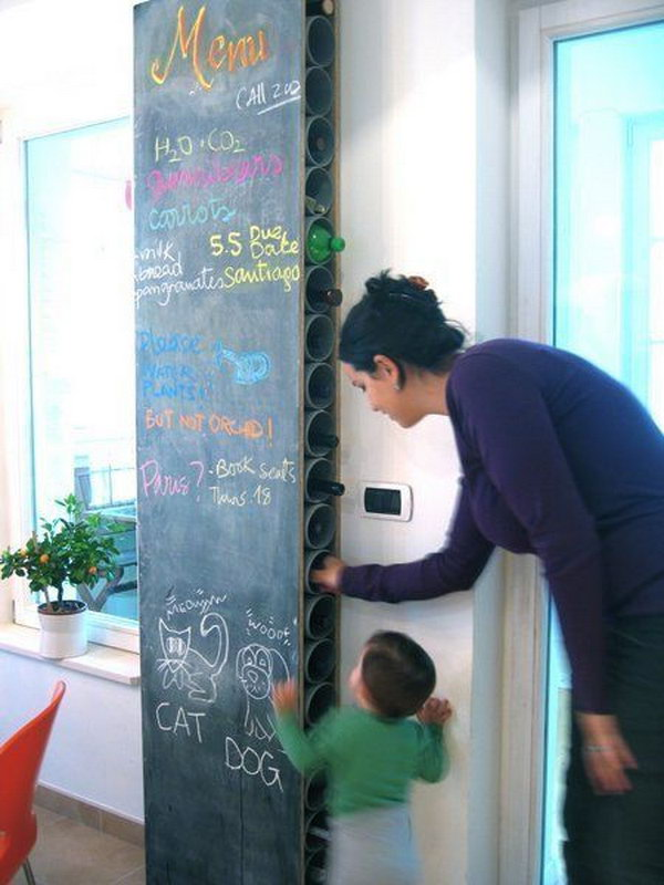 DIY Chalkboard and Wine Rack.