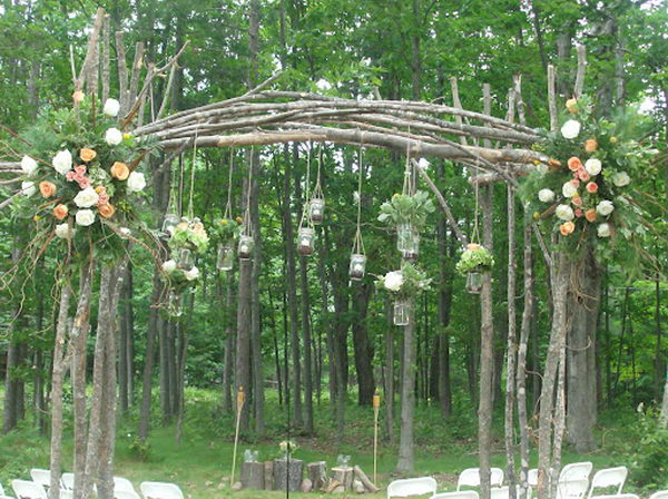 Mason Jars Wedding Arch.