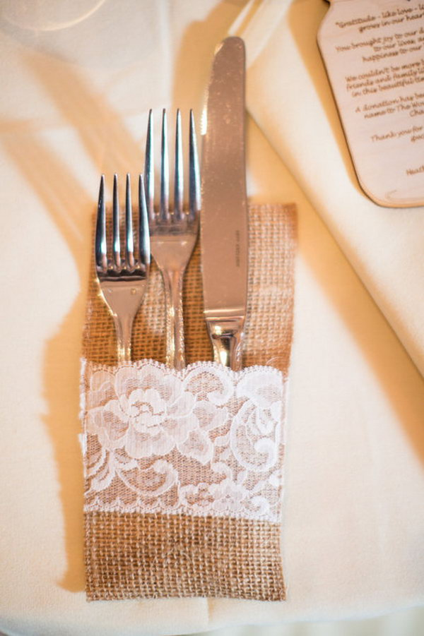Burlap Wedding Table Idea.