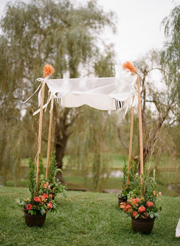 Potted Flowers Wedding Chuppah.