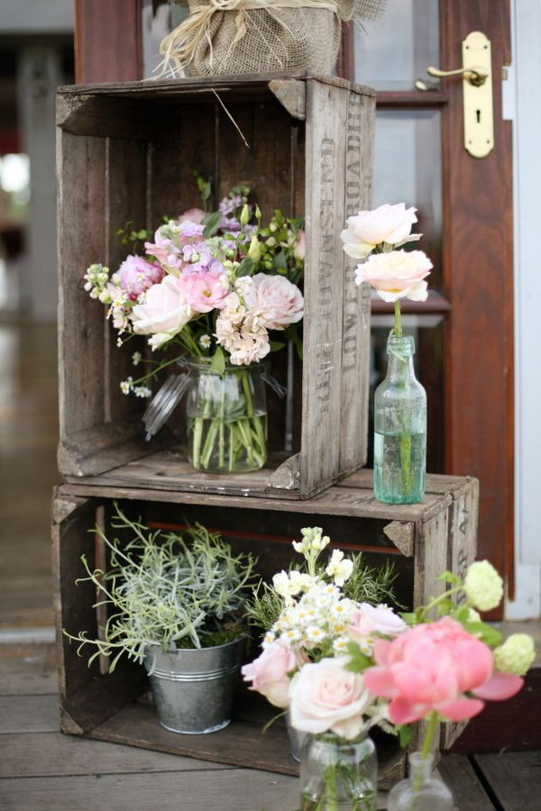 Rustic Boxes With Pink Flowers.