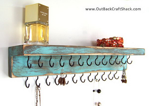 Distressed Wood Jewelry Holder.