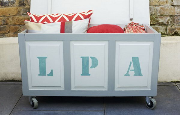 Revamp an old box with a fresh lick of paint and a stencil of your initials