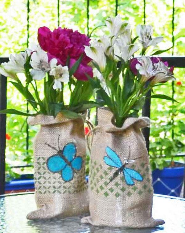 Stenciled Burlap Bags Vase Wraps
