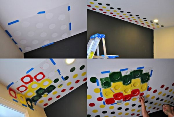 Stenciled Playroom using the Polka Dot Stencil on the Ceiling