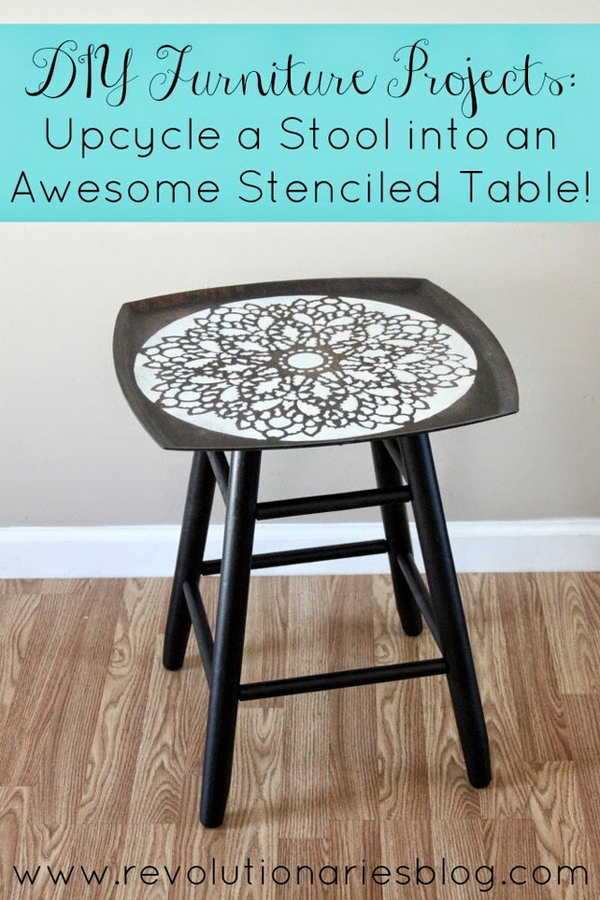 Upcycle a Stool into an Awesome Stenciled Table