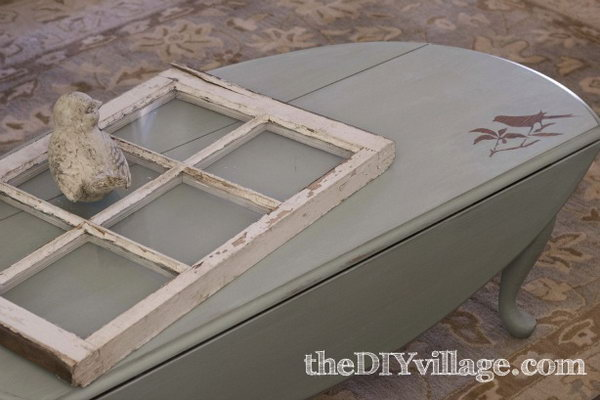 Reverse Stenciled Bird Coffee Table