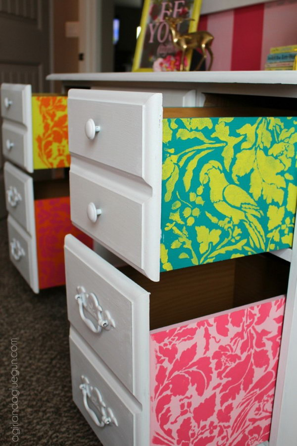 Thrifted Desk With Fun Stenciled Desk Drawers