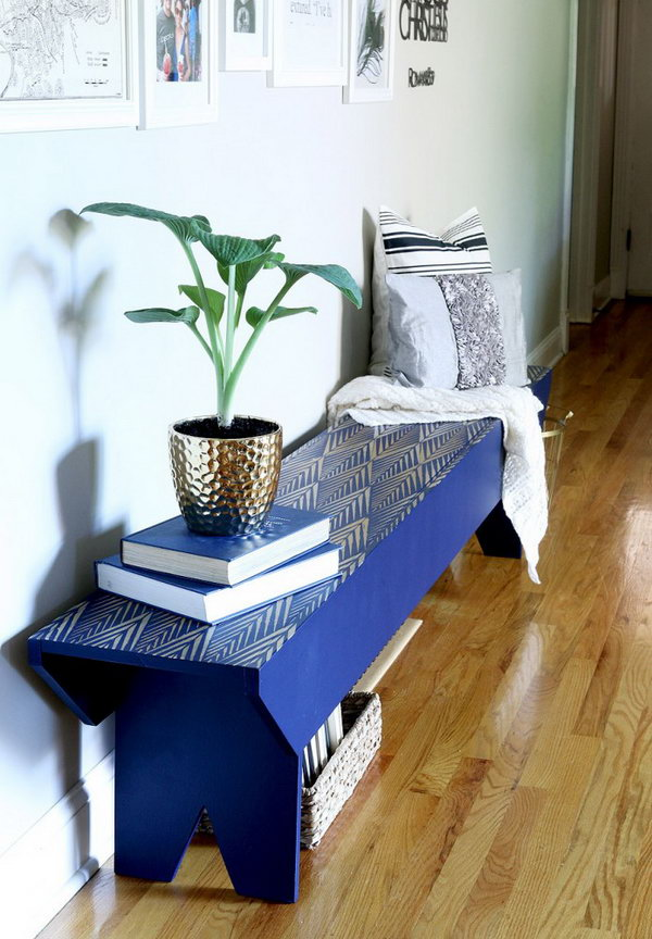 Tribal Stenciled Bench