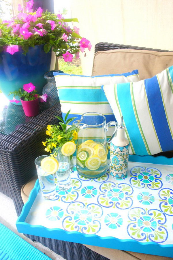 Summer Drink Tray Stencil Project