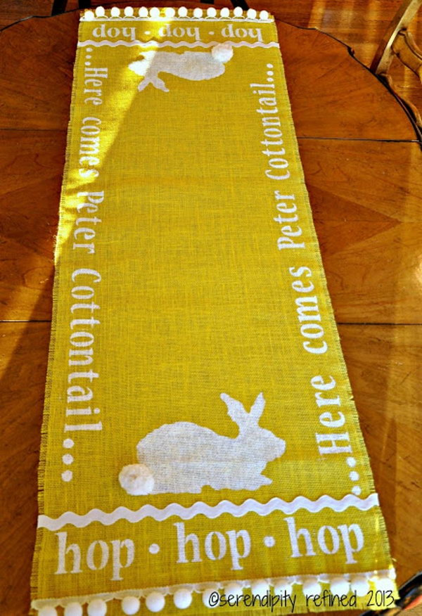 Stenciled Burlap Bunny Table Runner