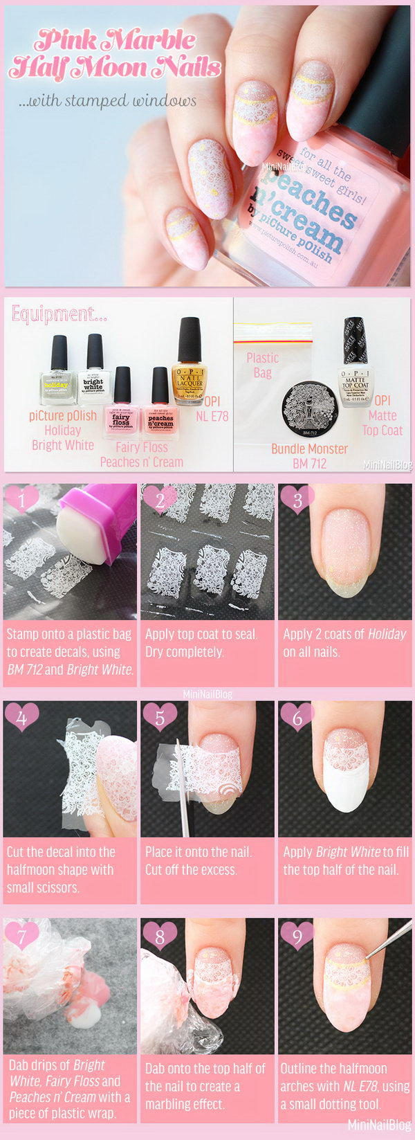 Elegant Lace Nail Art. This is such a easy and fun mani! Must try.