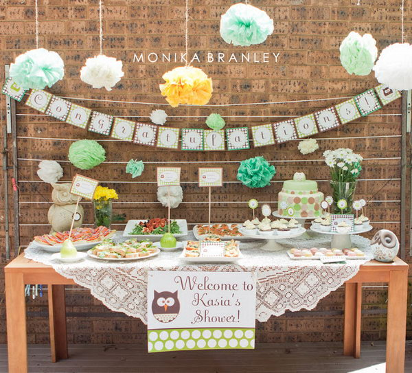 Mint Owl Theme Boy Baby Shower.