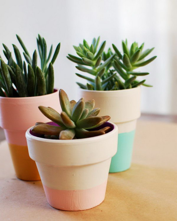 Pastel Color Block Pots. See the steps