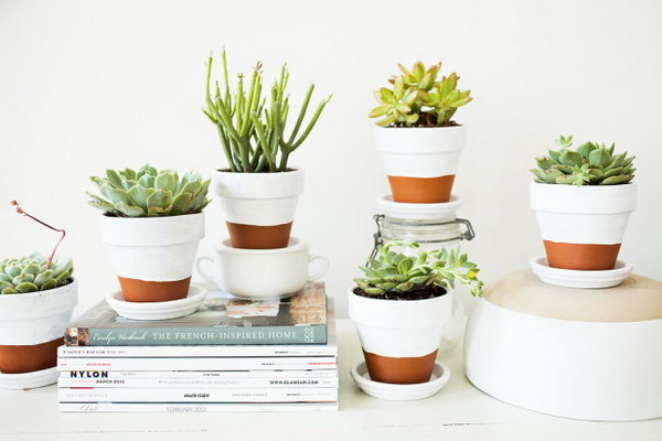 White Color Block Pots. Check out the tutorial