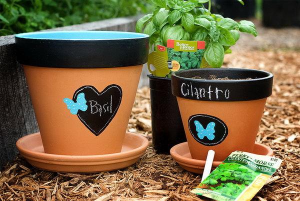 Chalkboard Flowerpots .