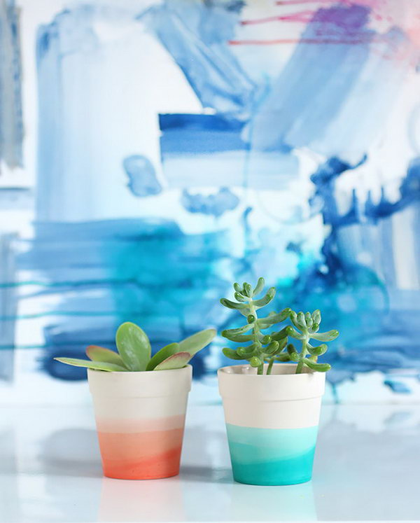 DIY Dip Dye Succulent Pot. See the details
