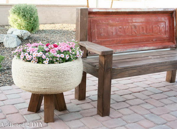 Recycled Tire Turned Gorgeous Planter. Check out the steps