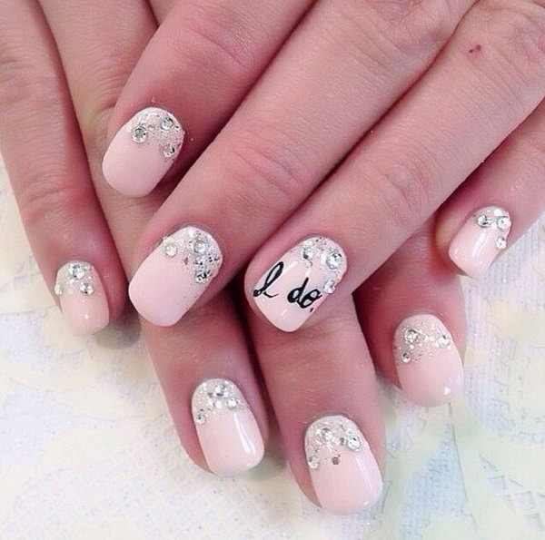 'I Do' Wedding Nail Art.