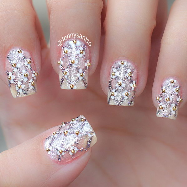Gold Studded Wedding Nail.