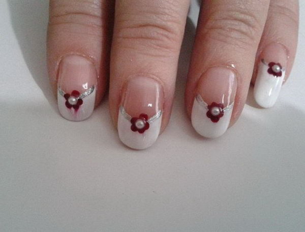 White, Red and Silver Wedding Nail With Pearls.