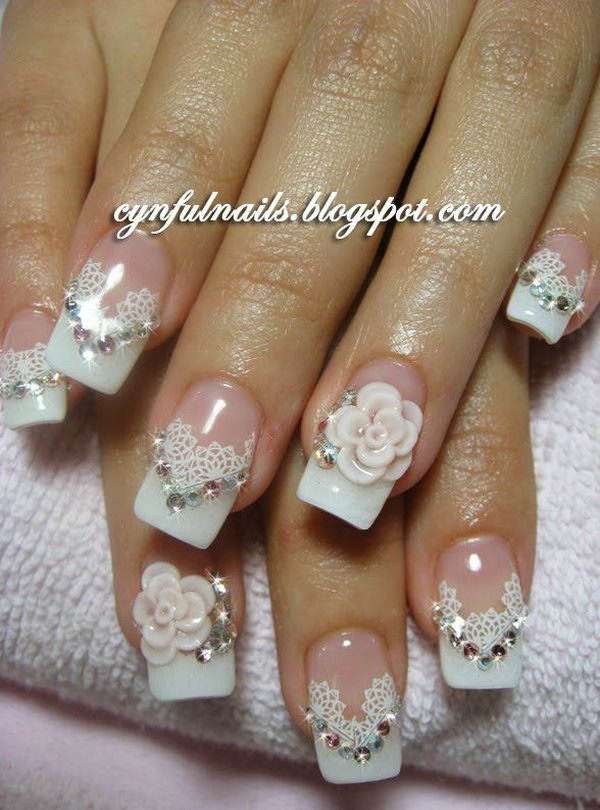 Lace and Flower Nail with Gems.