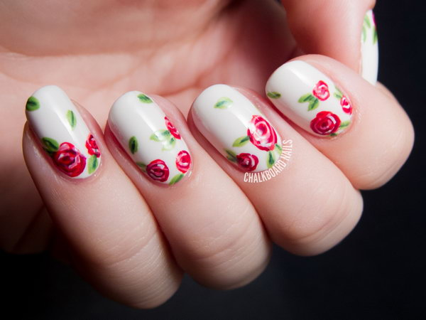 Sweet Red Rose Floral Nails. Get the tutorial