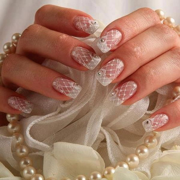 White Lace Wedding Nails.