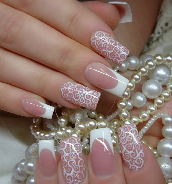 White Nail Art Perfect for Your Wedding.