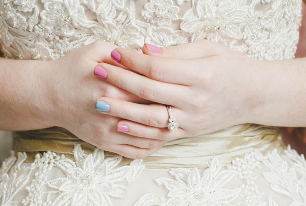 Soft Pink and a little Blue Manicure for Wedding.