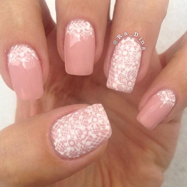 Pink Nail with White Lace.