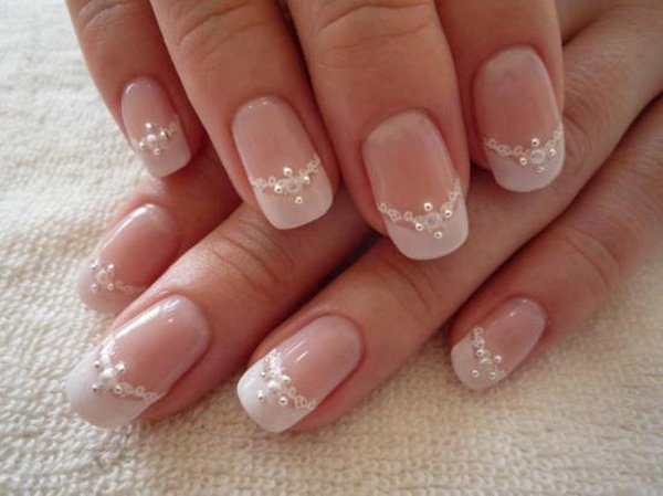 White Lace and Pearl Nails.