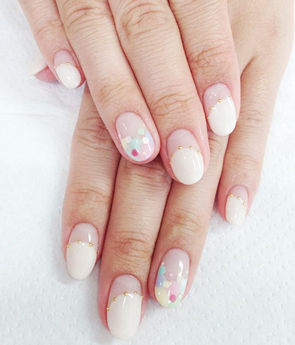 Pastel Polka Dots Wedding Nails.