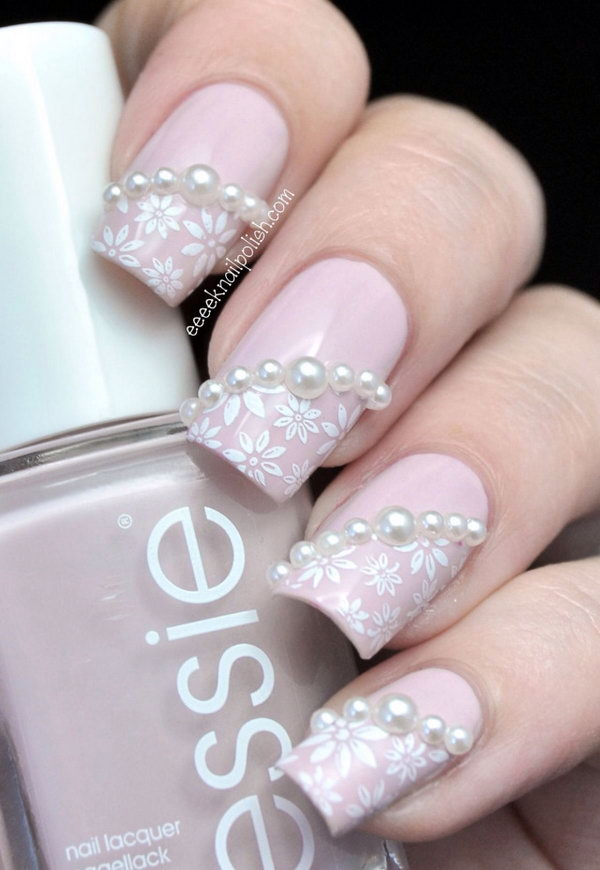 Pink Wedding Nails with Pearls.